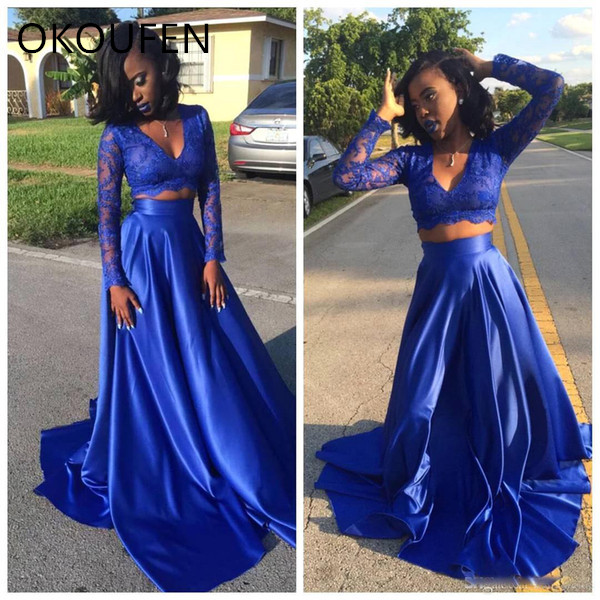 Robes de bal 2019 deux pièces bleu Royal à manches longues robe de soirée en Satin séparée vestidos de fiesta de noche robe de soirée