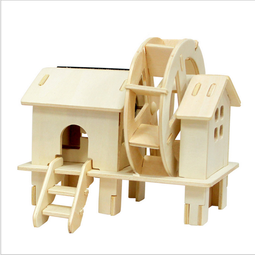 Solar Wooden Windmill Children Toys Educational Toy For ...