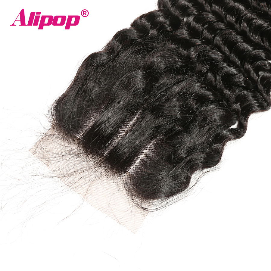 ALIPOP Peruvian Deep Wave Closure With Baby Hair Remy Hair 10 - 24 Inches Lace Human Hair 4x4 Closure Free Kim K Three Part (17)