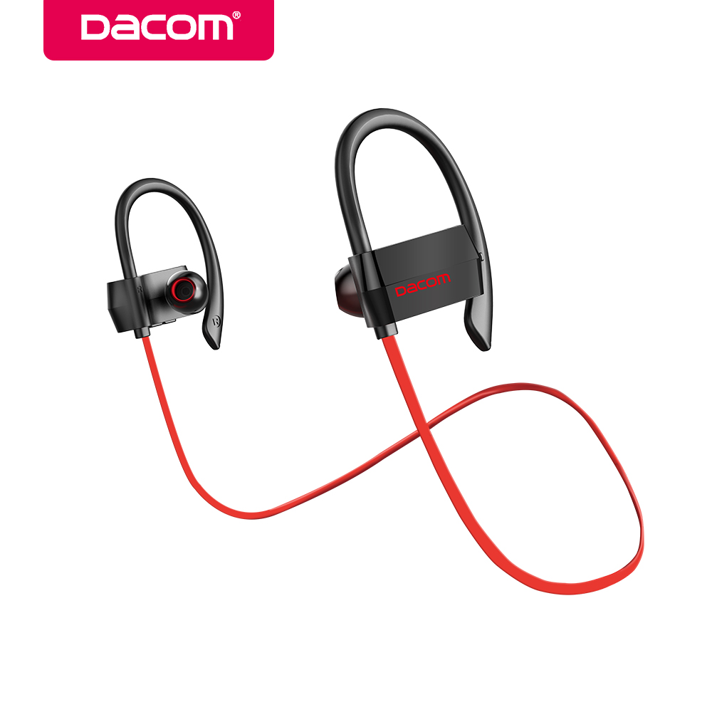 DACOM Bluetooth Headphone Wireless Sport Headset Ear Hook Stereo Bass Earphone Earpiece with Microphone for Phone iPhone Xiaomi