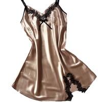 2017 New Ladies Sexy Silk Satin Night Dress Sleeveless Nighties V Neck Nightgown Plus Size Sexy