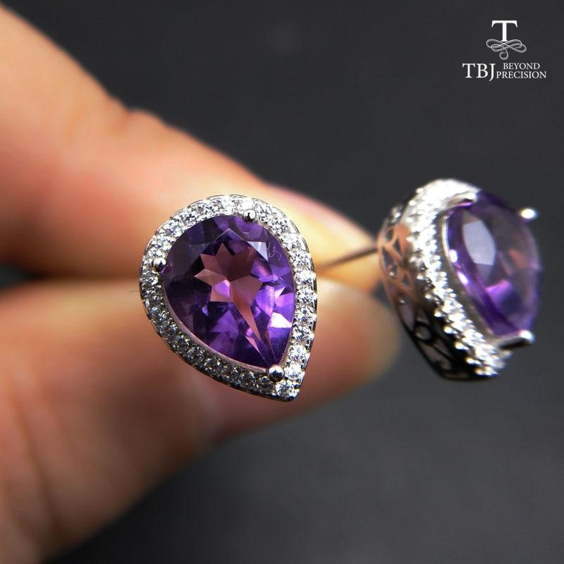 TBJ, Natural Brazil Amethyst pear 7*9mm Earrings Stud 925 Sterling Silver Jewelry Classic Pear Fine Jewelry Women gift Earrings zenza little pear
