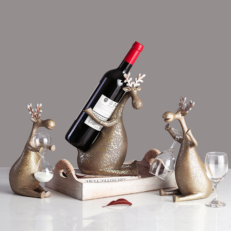Retro Deer Wine Rack Cup Holder Statue Abstraction Animal Colophony Crafts Home Accessories L2934Retro Deer Wine Rack Cup Holder Statue Abstraction Animal Colophony Crafts Home Accessories L2934