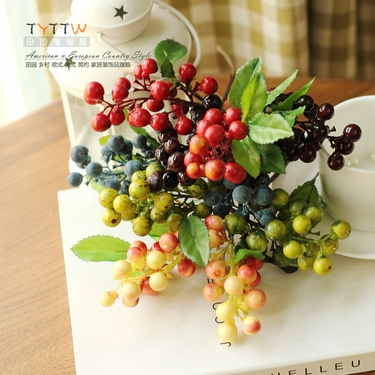 Small berries artificial bunch fruit flowers for wedding for Artificial pears decoration