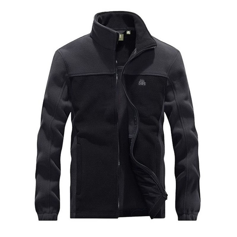 4XL Big Size Men's Splice Fleece Thermal Military Tactical Jacket Outdoor Riding Fishing Hiking Soft Breathable Warm Tops Coat