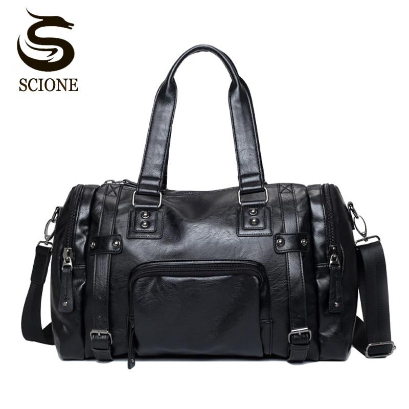 Luxury Style Mens Leather Travel Bag PU Handbags Male Travel Duffel Bags Tote High Quality Men Business Messenger Shoulder Bag