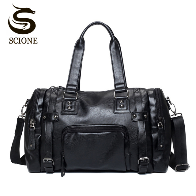 4b59d07c10 Luxury Style Mens Leather Travel Bag PU Handbags Male Travel Duffel Bags  Tote High Quality Men