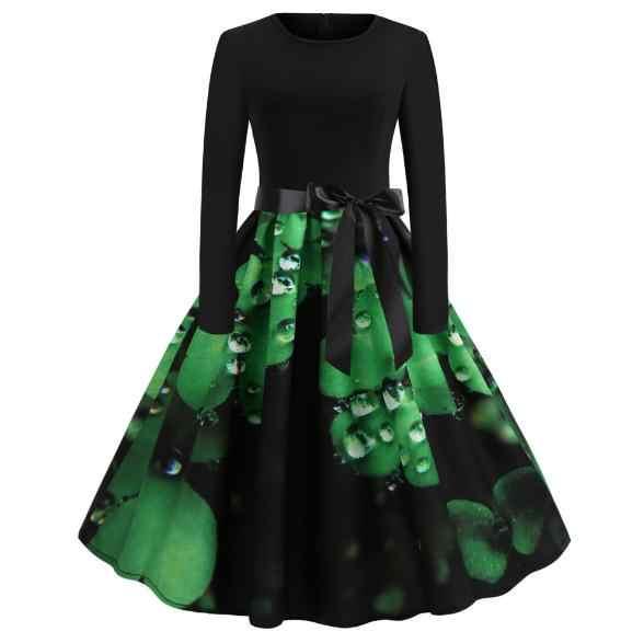 Wanita Vintage Gaun O-neck Plus Ukuran Gaun Wanita Cetak Hitam Lengan Panjang Ikat Pinggang Panjang Ayunan Retro Pinup Dress baru D161