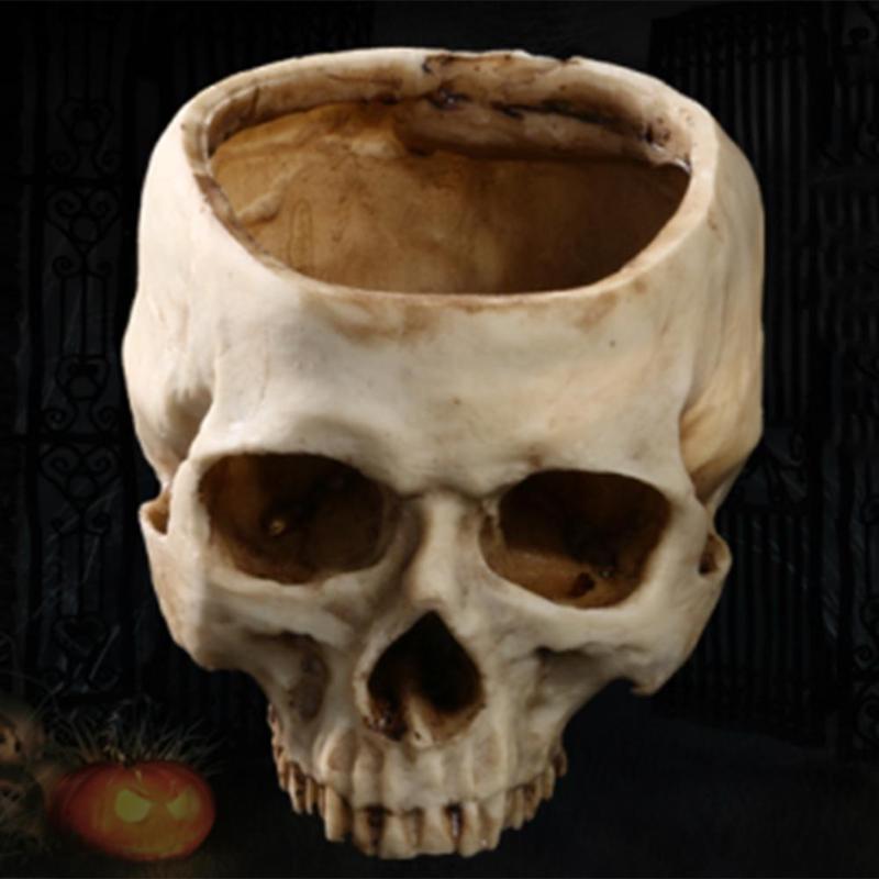 Harz Handwerk Menschlichen Zahn Schädel Fossil Lehre Skeleton Modell Halloween Home Office Blume Topf Halloween Dekoration