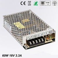 Best quality 18V 3.3A 60W Switching Power Supply Driver for LED Strip AC 100 240V Input to DC 18V free shipping