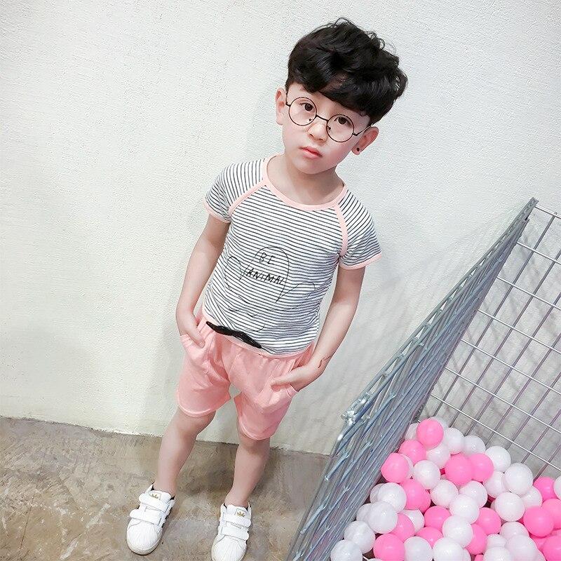 2017 лето разделе новой Корейской версии тенденция детей полосы печатных + твердые шорты костюм