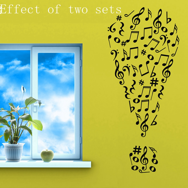 Musical wall stickers Music notes Art vinyl wall decals for ...