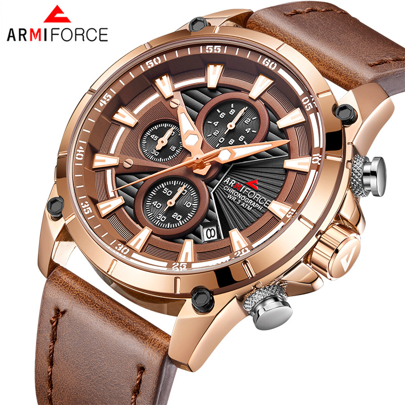 Men s Watches ARMIFORCE Luxury Brand Fashion Sport Watch Men Leather Waterproof Chronograph Quartz Clock Relogio