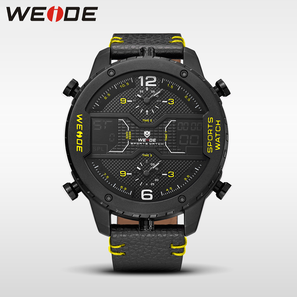 WEIDE genuine luxury brand Big dial watch quartz men leather sports watches LED analog relogios waterproof digital alarm clock weide watches men luxury sports lcd digital alarm military watch nylon strap big dial 3atm analog led display men s quartz watch