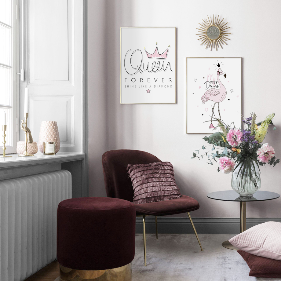 pink queen crown wall art print canvas painting nordic