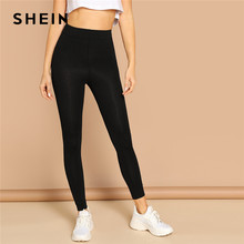 SHEIN Elastische Taille Solide Leggings 2019 Schwarz Rot Frühling Herbst Stretchy Feste Leggings Sexy Frauen Kleidung Workout Leggings(China)
