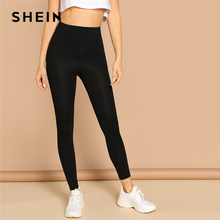SHEIN Elastic Waist Solid Leggings 2019 Black Red Spring Autumn Stretc