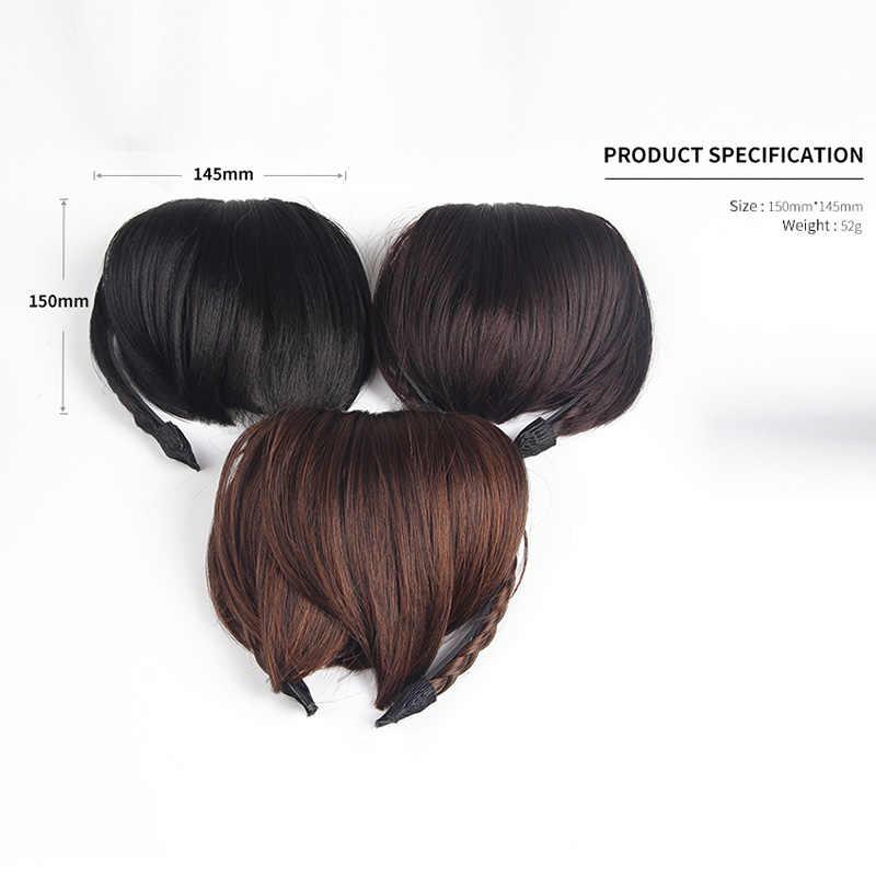 Новинка женские волосы спереди челка клип короткий Плетеный парик бахрома повязка для волос аксессуары для волос 3F5006