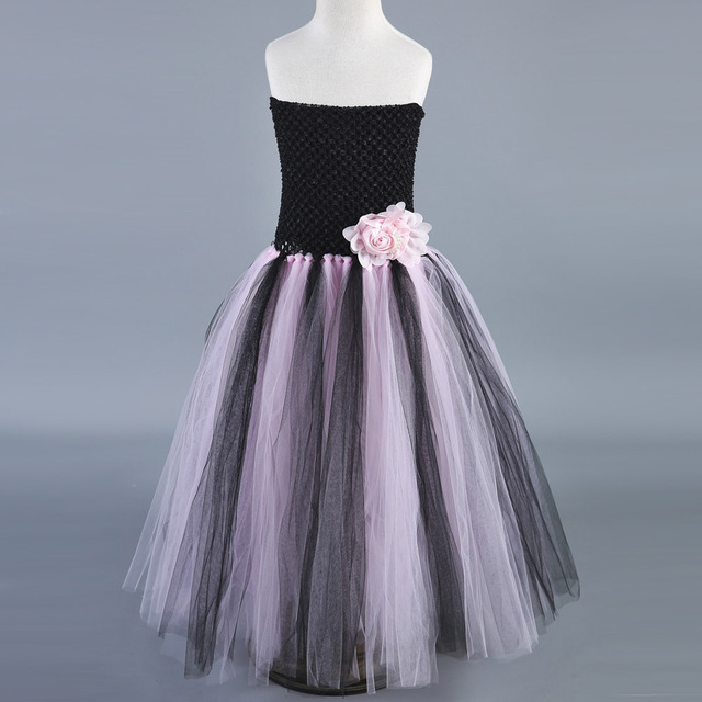 0228f5cb540 Black Pink Tulle Flower Girl Dresses Princess Tutu Dress Kids Girls  Birthday Wedding Party Dress Children Ball Gowns Vestidos