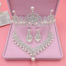 TREAZY Luxury Imitate Pearl Crystal Wedding Jewelry Set Necklace +Earrings +Crown Tiara Bridal Jewelry Set Women Accessories