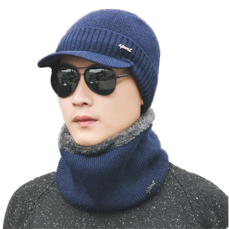 Hat-Set Winter Accessories Scarf Beanies Plush-Hats Knitted Women Fashion for
