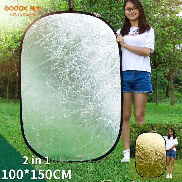 Портативный Овальный многодисковый отражатель Godox 2 в 1 100x150 см, складной рассеиватель света для фотостудии, фотокамеры