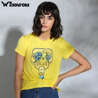 Witsources Women Yellow Tops Short Sleeve Summer T Shirts 2017 Cute Robot Print Casual Student Tshirts