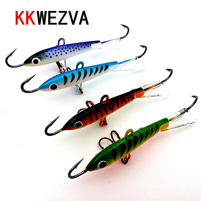 KKWEZVA 1 Pc 8.3cm 18g winter Ice Fishing Lure Minnow Hard Bait Artifical Lure 3 Fishing Hooks Fishing Tackle Peche Pesca