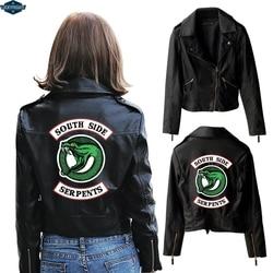 BF 2019 nowy druku Riverdale PU druku Logo Southside Riverdale węże kurtka kobiety Riverdale węże Streetwear skórzana kurtka 1