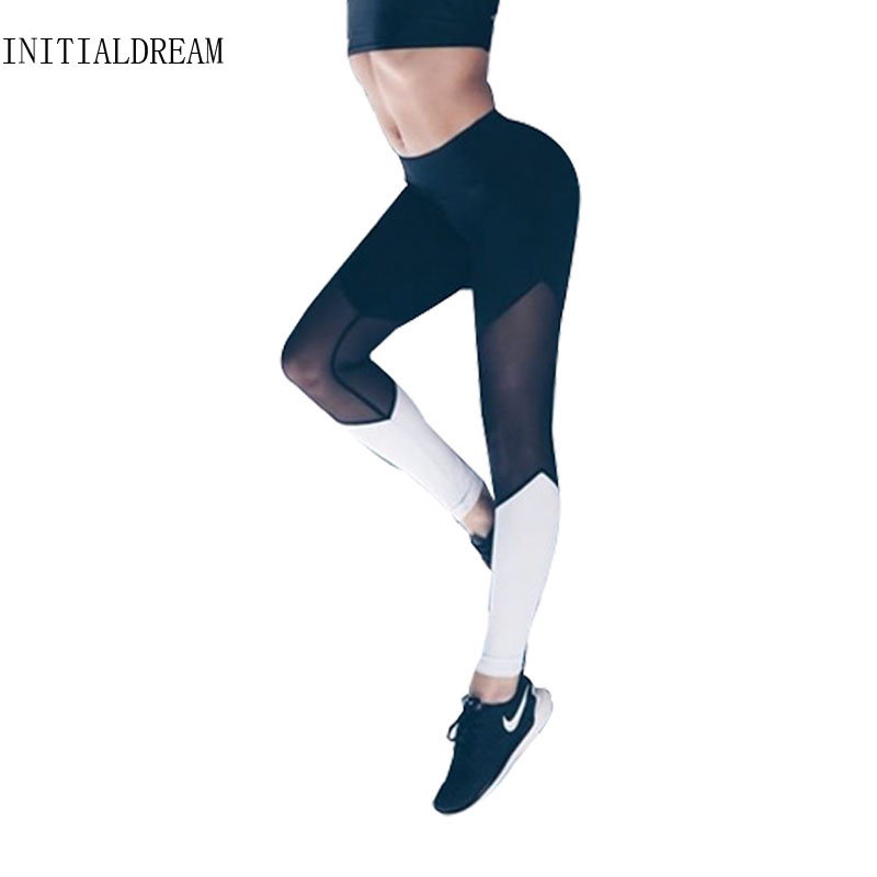 INITIALDREAM Women Sporting Leggings Fitness Yuga Pants Black White Leggings Sporting Mallas Mujer Deportivas Clothes