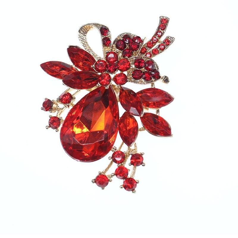 Femmes or métal grande goutte d'eau rouge autrichien cristal mariage fleur feuille Bouquet épinglette broche
