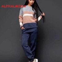 ALPHALMODA ансамбль женский 2 шт. Pantalon полосатый с длинными рукавами джемпер + брюки женские вязаные комплекты
