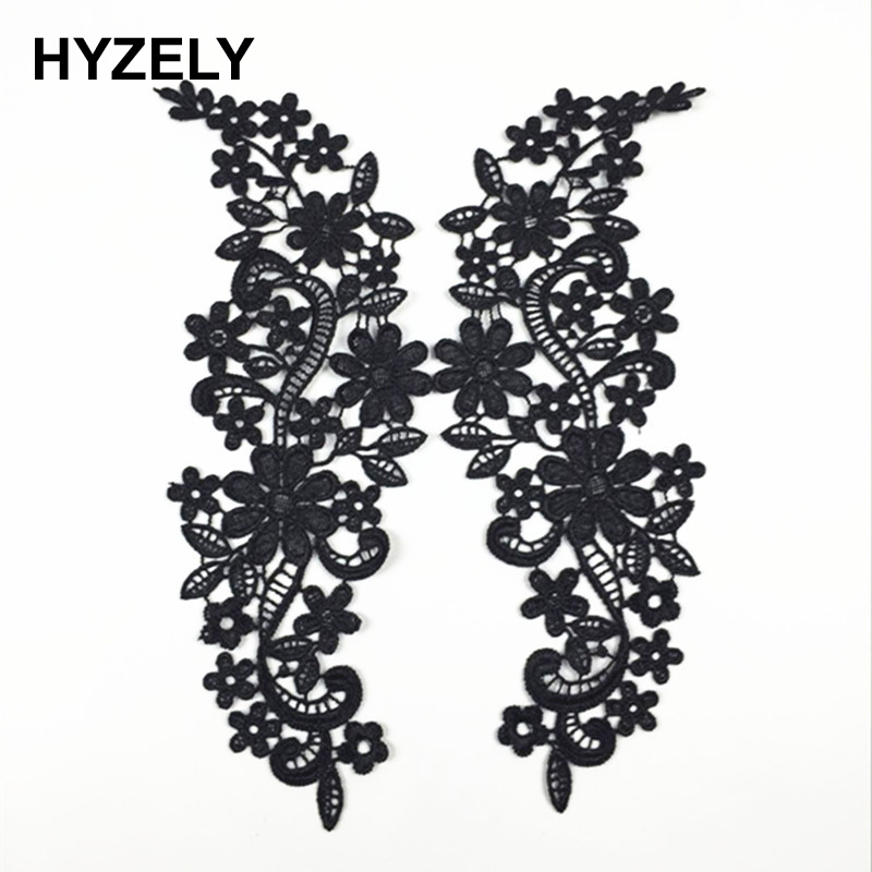 Have An Inquiring Mind 2pcs/set Vintage Black Flower Embroidery Lace Appliqued Fabric Jacquard Ribbon Lace Fabric Sewing Trims Patch Scrapbooking Bw060 Bright Luster Home & Garden