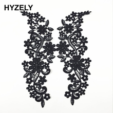 2Pcs/Set Vintage Black Flower Embroidery Lace Appliqued Fabric Jacquard Ribbon Lace Fabric Sewing Trims Patch Scrapbooking BW060