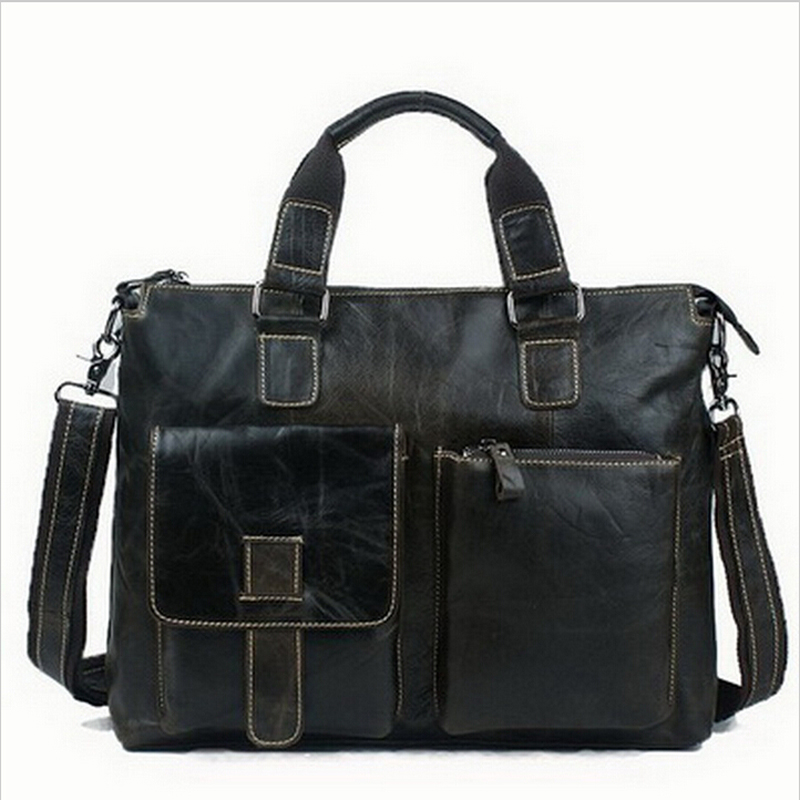 ФОТО 100% Genuine Real Leather Men Bag Shoulder Bags Brand New Vintage Laptop Business Men's Travel Tote Men Messenger Bags 2016 New
