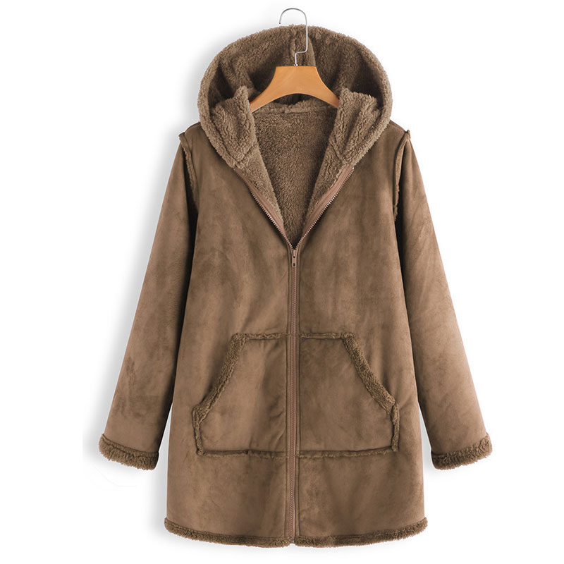 M 5XL Women Suede Leather Long Coat Casual Autumn Loose ...