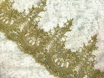 Gold Lace Trim, gold scalloped lace, Retro golden trim lace, 9.8 inches wide, 5 yards /lot  GT025