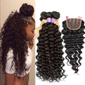 8A Deep Wave With Closure Brazilian Virgin Hair 4 Pcs 3 Hair Bundles With Closure Human Hair Weaves With Closures Extensions