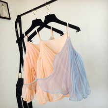 Women Chiffon Splice V Neck Pleated Camis Strappy Camisole Two Tone Pleated Organ Chiffon Fashion Summer Tank Top Vest