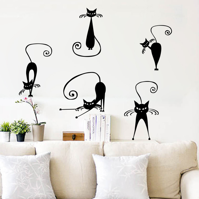 5 Abstract Cat Wall Sticker For Kids Rooms Decals Quotes Vinilos Infantiles Stickers Mural Home Decor Living Room Decoration