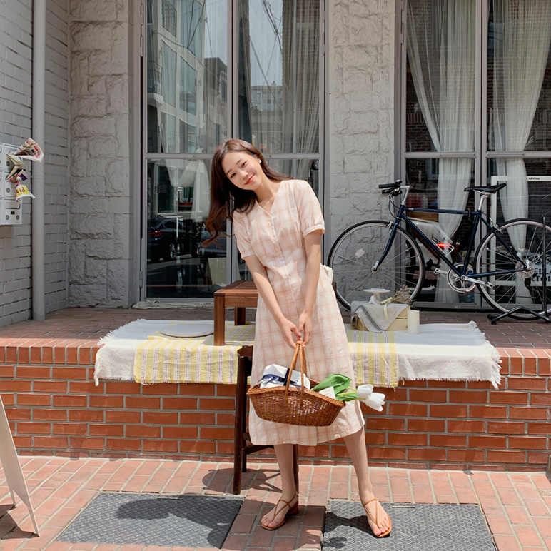 プラスサイズ夏ドレス女の子自由奔放に生きるパーティー女性ヴィンテージドレスチェック柄ボタンカーディガン半袖の女性のドレスロングローブ Vestido