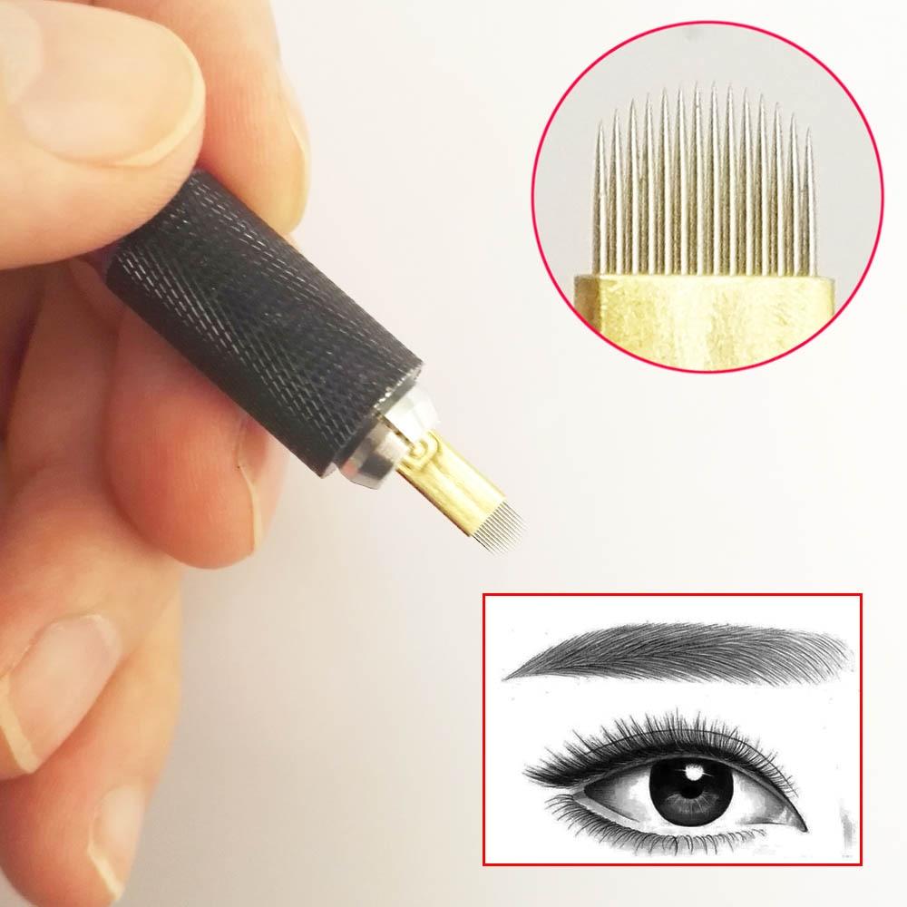 10 x Microblading Permanent Makeup U Shape 14 Needles Eyebrow Tattoo ...