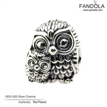 2016 Charming Owls Charm Fits Pandora Charms Bracelet Original 925 Sterling Silver Animal Beads DIY Fashion Jewelry Making