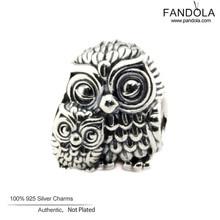 2016 Charming Owls Charm Fits Pandora Charms Bracelet Original 925 Sterling Silver Animal Beads DIY Fashion Jewelry Making