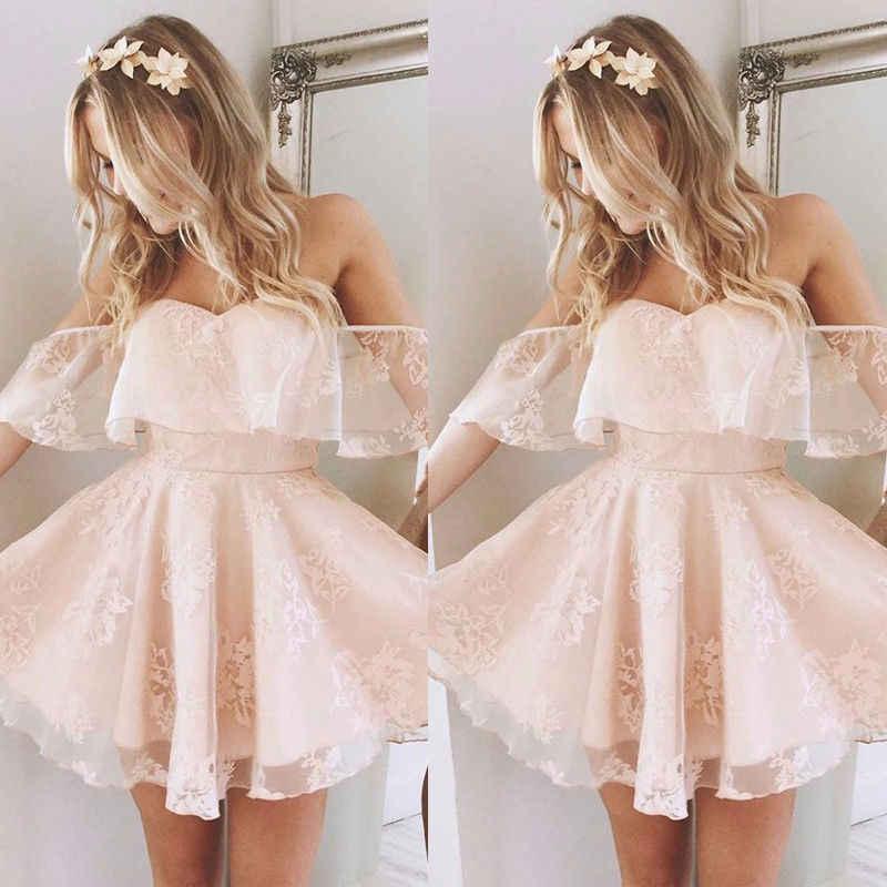 Baru Trendi Wanita Formal Renda Gaun Musim Panas Prom Bahu Pesta Pernikahan Gaun Lengan Pendek Gaun Mini Pendek Hitam Solid merah Muda