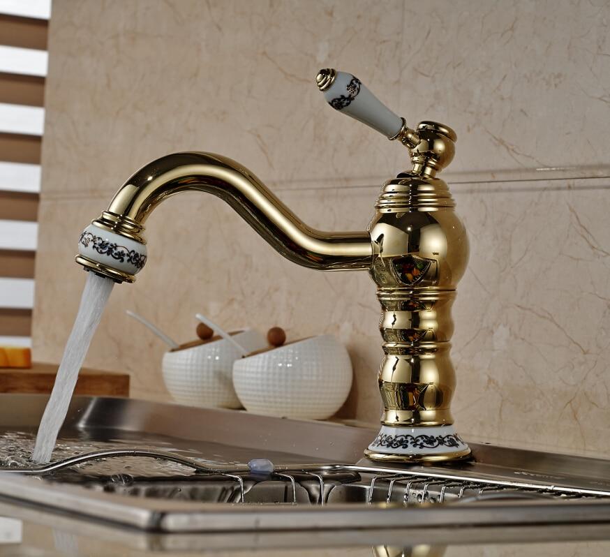 Elegant Ceramic Style Golden Brass Kitchen Faucet Vanity Sink Mixer Tap Swivel Spout Deck Mounted golden brass kitchen faucet dual handles vessel sink mixer tap swivel spout w pure water tap