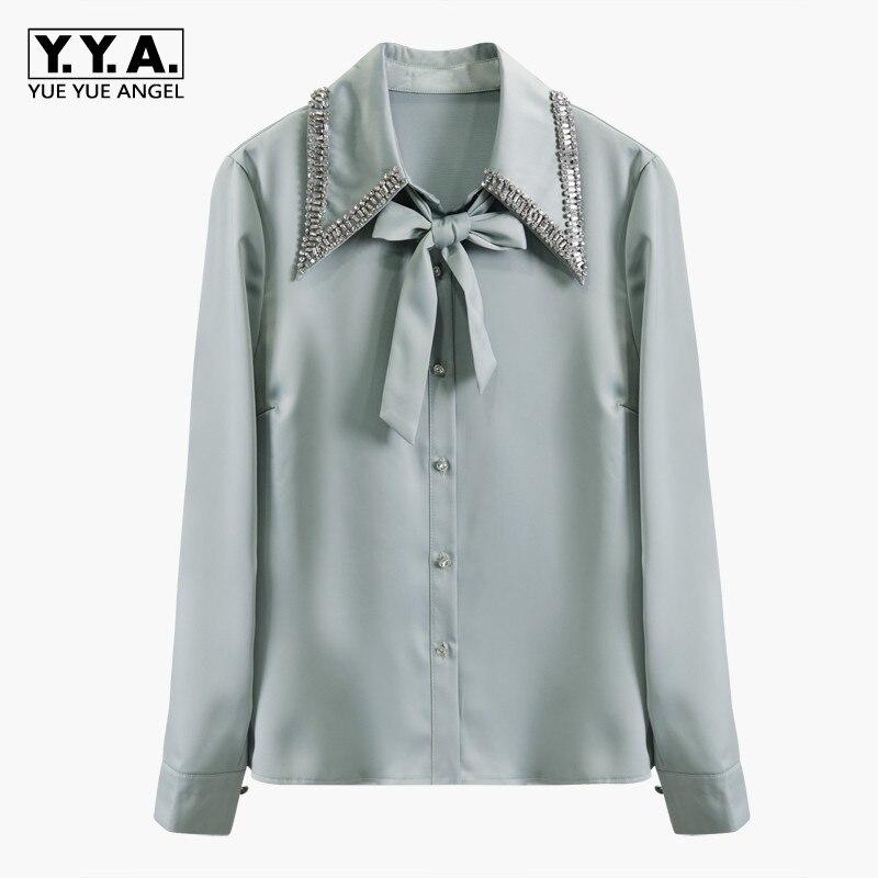 Manches longues femmes printemps Chic diamants simple boutonnage Satin chemises décolleté à lacets Slim Fit dames mode blanc noir Blouse