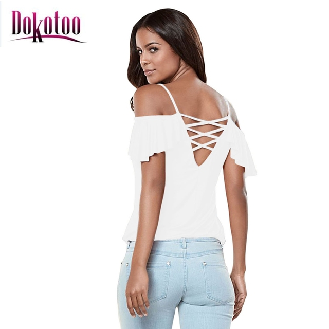 c46b31df9c0e7 Dokotoo 2017 Women Summer Style Clothing Casual Fashion Sexy Tee White  Crisscross Back Ruffle Cold Shoulder