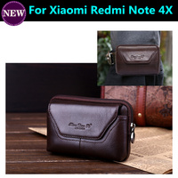 Cell Phone Case Genuine Leather Zipper Pouch Belt Clip Waist Purse Cover For Xiaomi Redmi Note