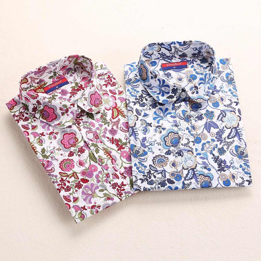 2019 Цветочные женские блузки рубашка с длинным рукавом хлопок женские рубашки вишня повседневные женские топы с животным принтом блузка плюс размер 5XL